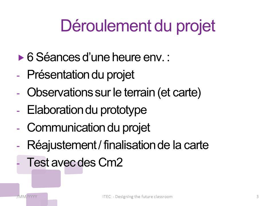 Déroulement du projet 6 Séances dune heure env. : - Présentation du projet - Observations sur le terrain (et carte) - Elaboration du prototype - Commu