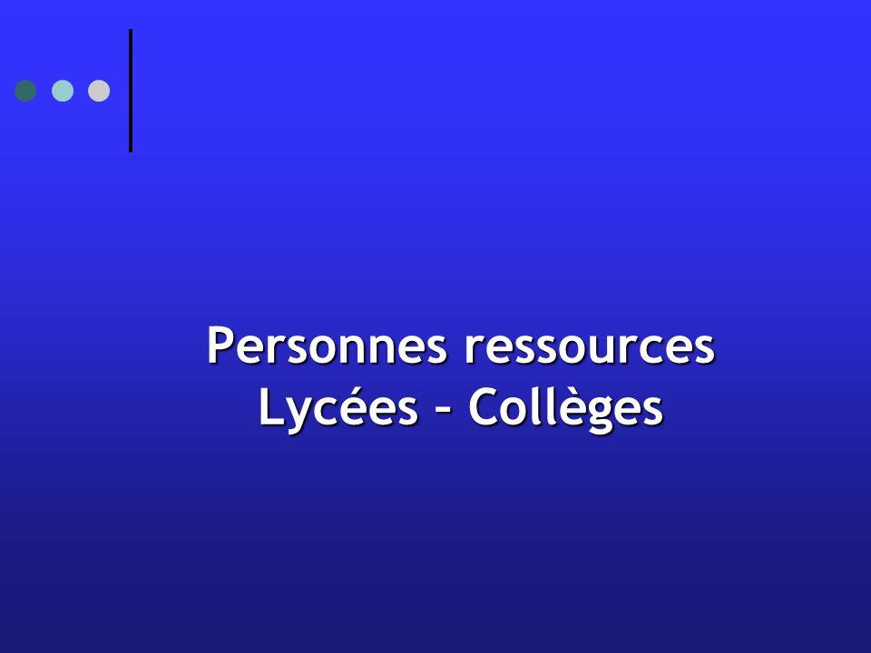 Personnes ressources Lycées – Collèges