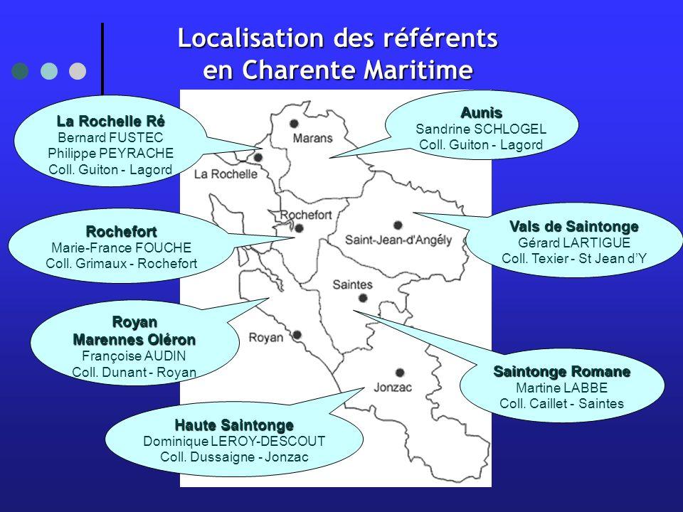Localisation des référents en Charente Maritime Aunis Sandrine SCHLOGEL Coll.