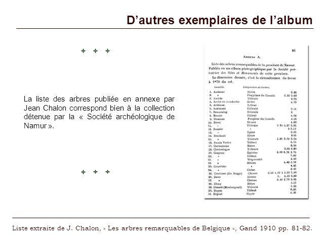 Dautres exemplaires de lalbum La liste des arbres publiée en annexe par Jean Chalon correspond bien à la collection détenue par la « Société archéolog