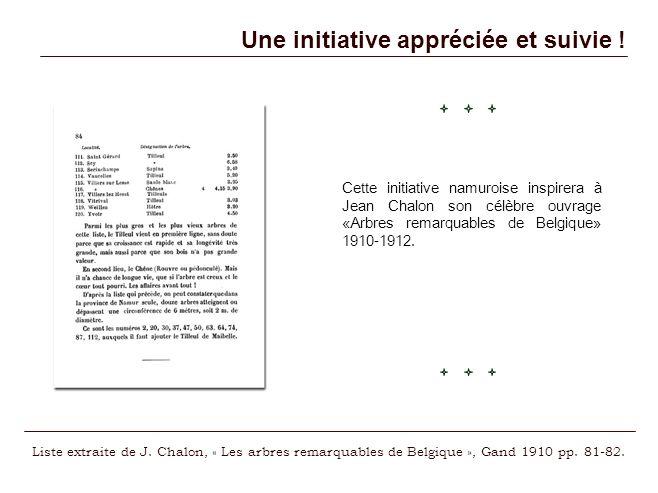 Une initiative appréciée et suivie ! Cette initiative namuroise inspirera à Jean Chalon son célèbre ouvrage «Arbres remarquables de Belgique» 1910-191