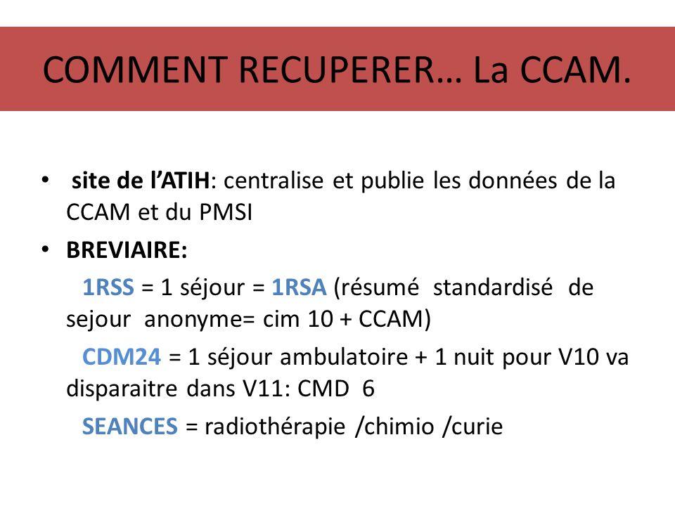 COMMENT RECUPERER… La CCAM. site de lATIH: centralise et publie les données de la CCAM et du PMSI BREVIAIRE: 1RSS = 1 séjour = 1RSA (résumé standardis