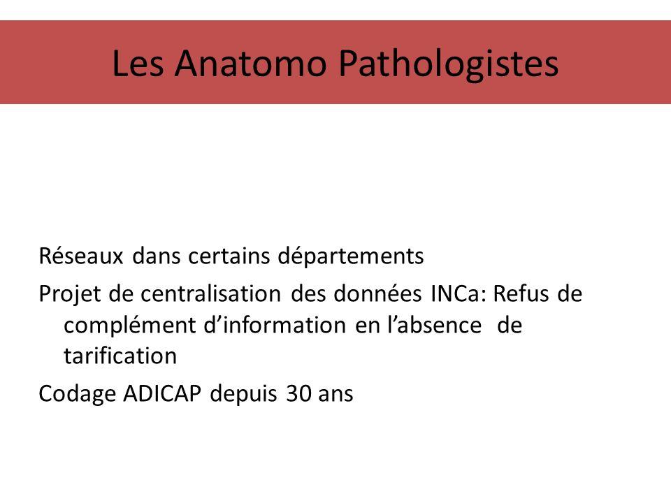 Les Anatomo Pathologistes Réseaux dans certains départements Projet de centralisation des données INCa: Refus de complément dinformation en labsence d