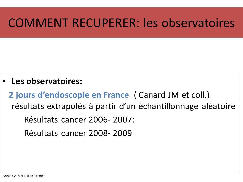 COMMENT RECUPERER: les observatoires Les observatoires: 2 jours dendoscopie en France ( Canard JM et coll.) résultats extrapolés à partir dun échantil