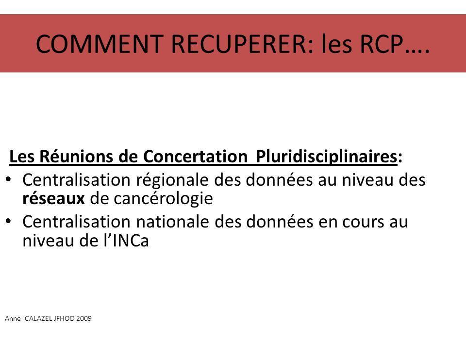 COMMENT RECUPERER: les RCP…. Les Réunions de Concertation Pluridisciplinaires: Centralisation régionale des données au niveau des réseaux de cancérolo