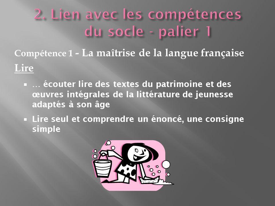 Compétence 1 - La maîtrise de la langue française Lire … écouter lire des textes du patrimoine et des œuvres intégrales de la littérature de jeunesse adaptés à son âge Lire seul et comprendre un énoncé, une consigne simple
