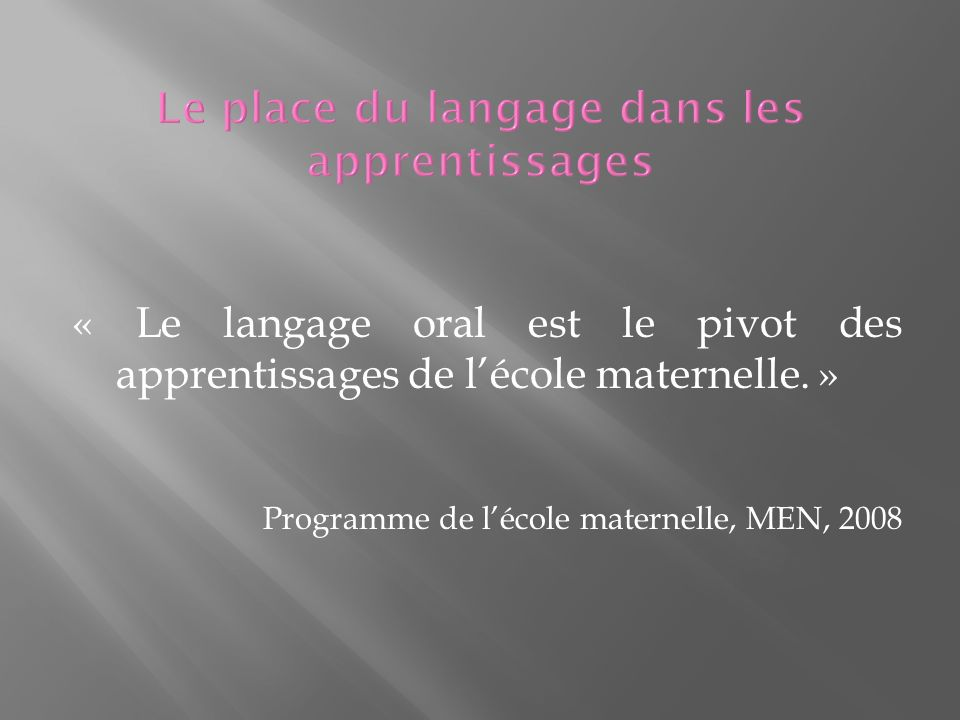 « Le langage oral est le pivot des apprentissages de lécole maternelle.