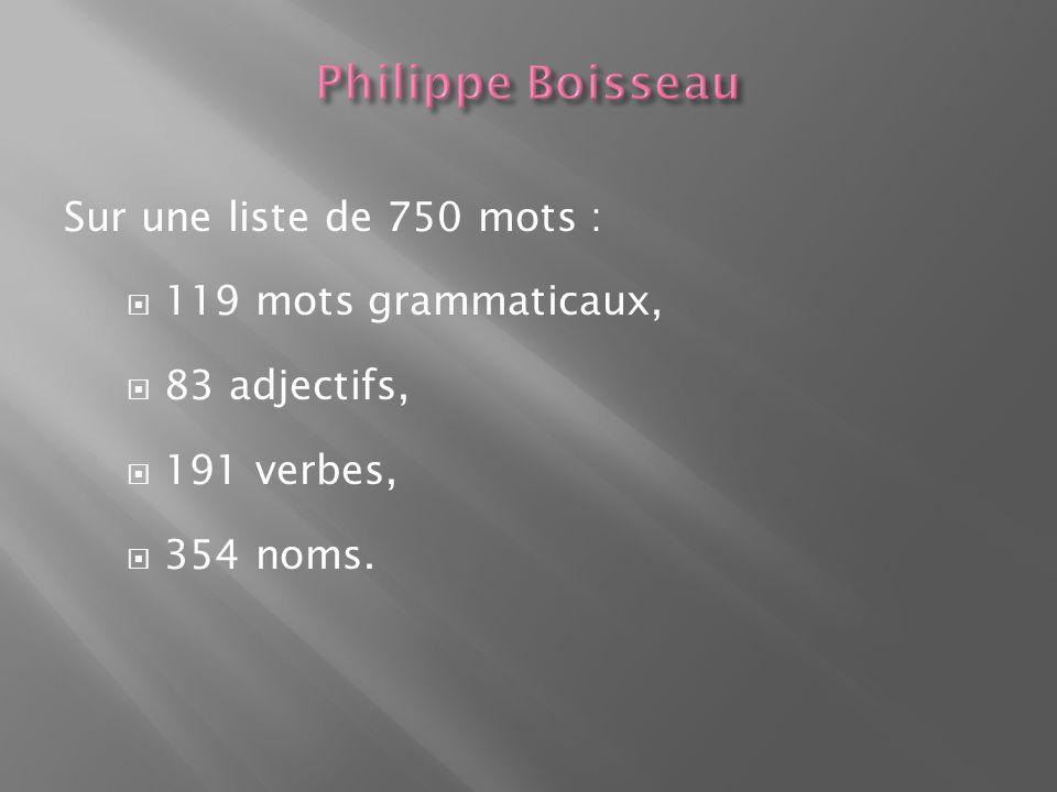Sur une liste de 750 mots : 119 mots grammaticaux, 83 adjectifs, 191 verbes, 354 noms.