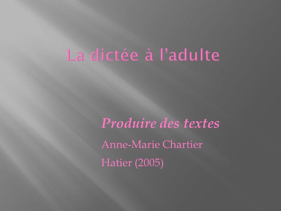 Produire des textes Anne-Marie Chartier Hatier (2005)