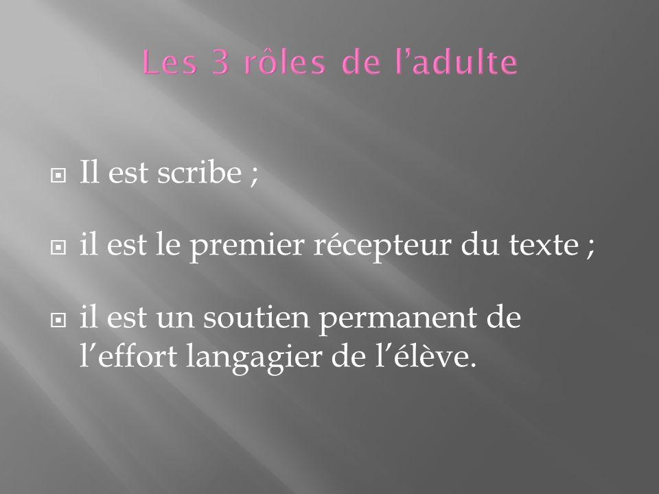 Il est scribe ; il est le premier récepteur du texte ; il est un soutien permanent de leffort langagier de lélève.