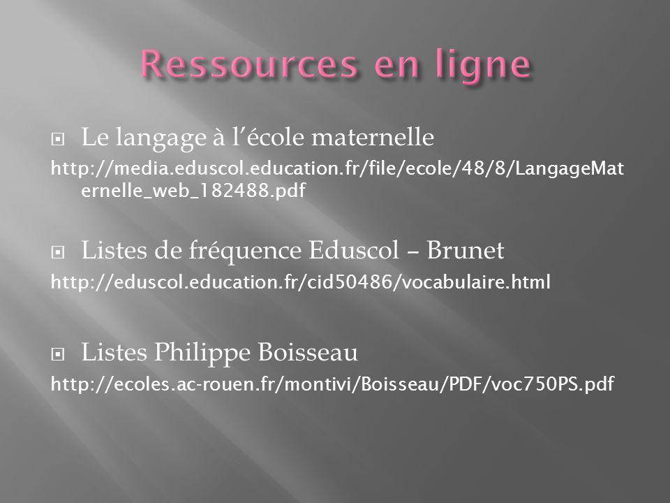 Le langage à lécole maternelle http://media.eduscol.education.fr/file/ecole/48/8/LangageMat ernelle_web_182488.pdf Listes de fréquence Eduscol – Brunet http://eduscol.education.fr/cid50486/vocabulaire.html Listes Philippe Boisseau http://ecoles.ac-rouen.fr/montivi/Boisseau/PDF/voc750PS.pdf