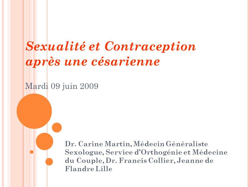 Sexualité et Contraception après une césarienne Mardi 09 juin 2009 Dr. Carine Martin, Médecin Généraliste Sexologue, Service dOrthogénie et Médecine d