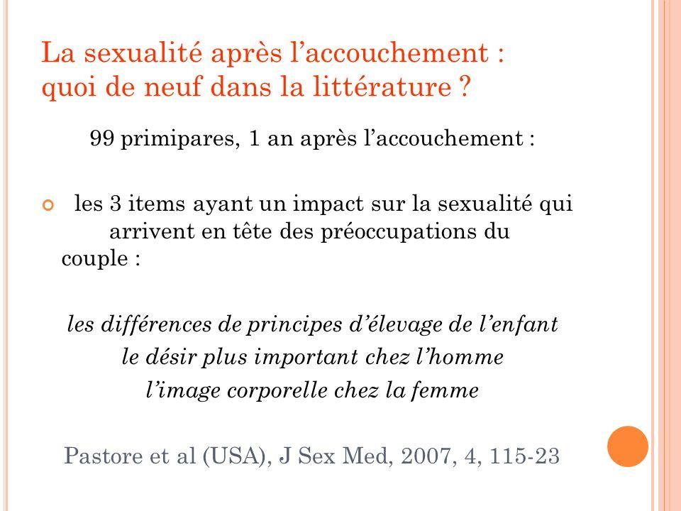 La sexualité après laccouchement : quoi de neuf dans la littérature ? 99 primipares, 1 an après laccouchement : les 3 items ayant un impact sur la sex