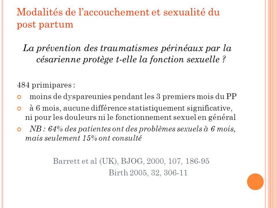 Modalités de laccouchement et sexualité du post partum La prévention des traumatismes périnéaux par la césarienne protège t-elle la fonction sexuelle