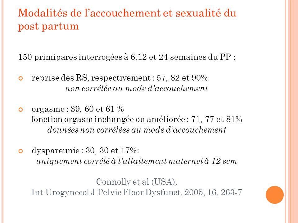 Modalités de laccouchement et sexualité du post partum 150 primipares interrogées à 6,12 et 24 semaines du PP : reprise des RS, respectivement : 57, 8