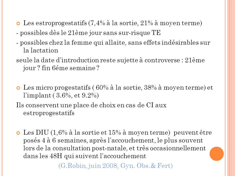 Les estroprogestatifs (7,4% à la sortie, 21% à moyen terme) - possibles dès le 21ème jour sans sur-risque TE - possibles chez la femme qui allaite, sa