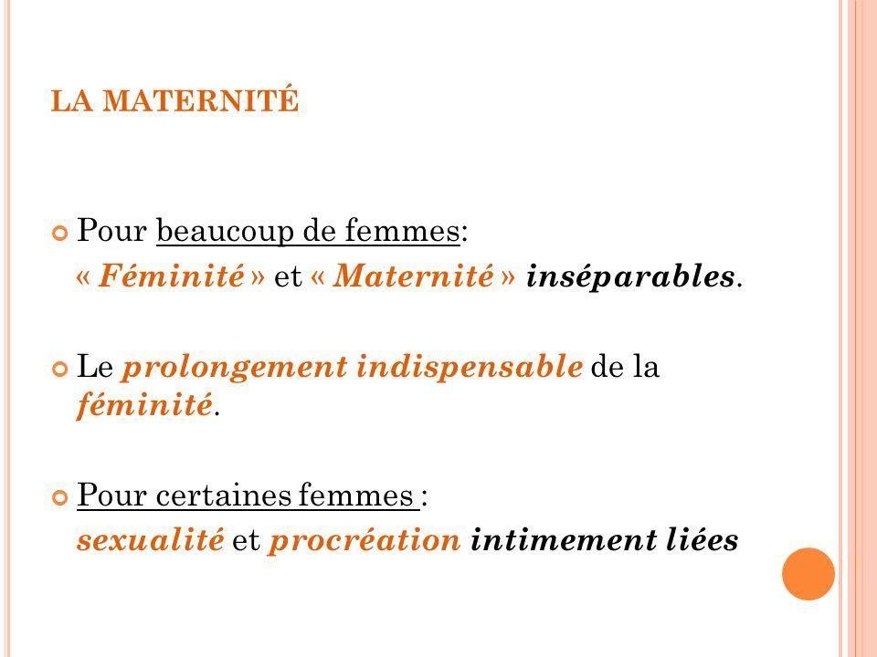 LA MATERNITÉ Pour beaucoup de femmes: « Féminité » et « Maternité » inséparables. Le prolongement indispensable de la féminité. Pour certaines femmes