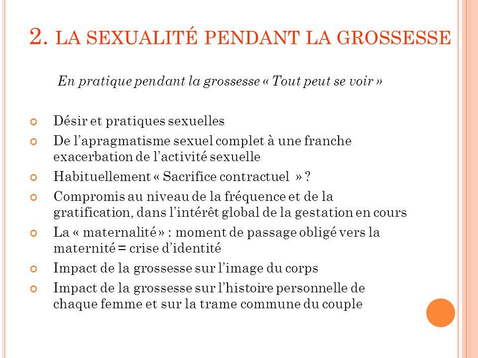 2. LA SEXUALITÉ PENDANT LA GROSSESSE En pratique pendant la grossesse « Tout peut se voir » Désir et pratiques sexuelles De lapragmatisme sexuel compl