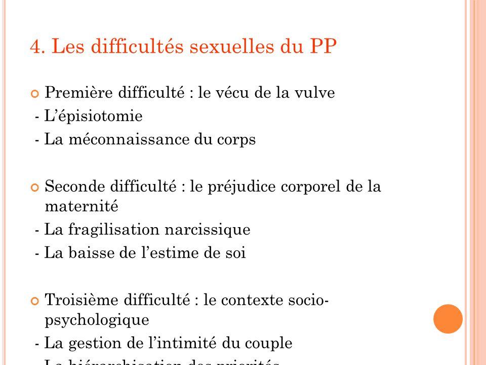 4. Les difficultés sexuelles du PP Première difficulté : le vécu de la vulve - Lépisiotomie - La méconnaissance du corps Seconde difficulté : le préju