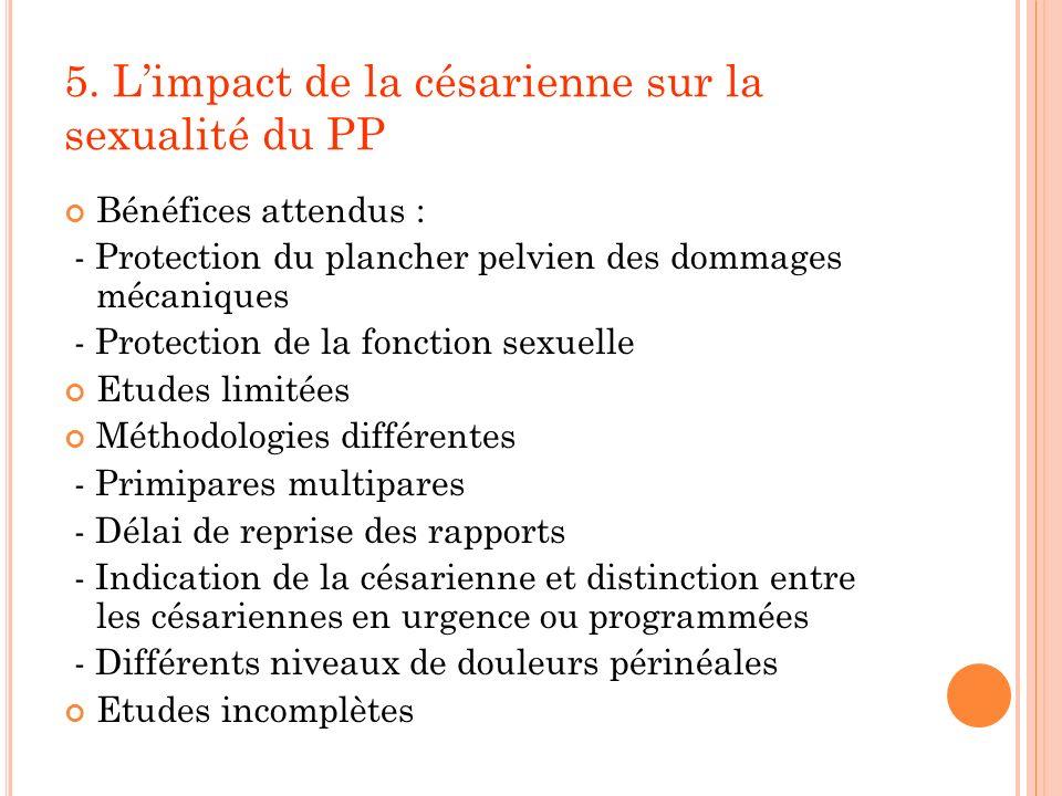5. Limpact de la césarienne sur la sexualité du PP Bénéfices attendus : - Protection du plancher pelvien des dommages mécaniques - Protection de la fo