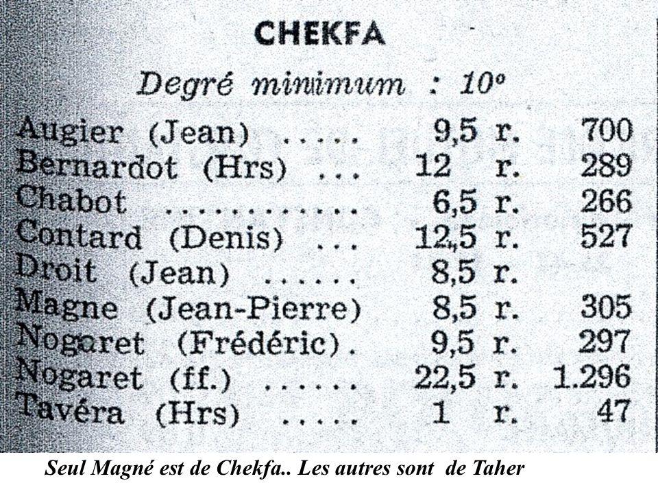 Seul Magné est de Chekfa.. Les autres sont de Taher