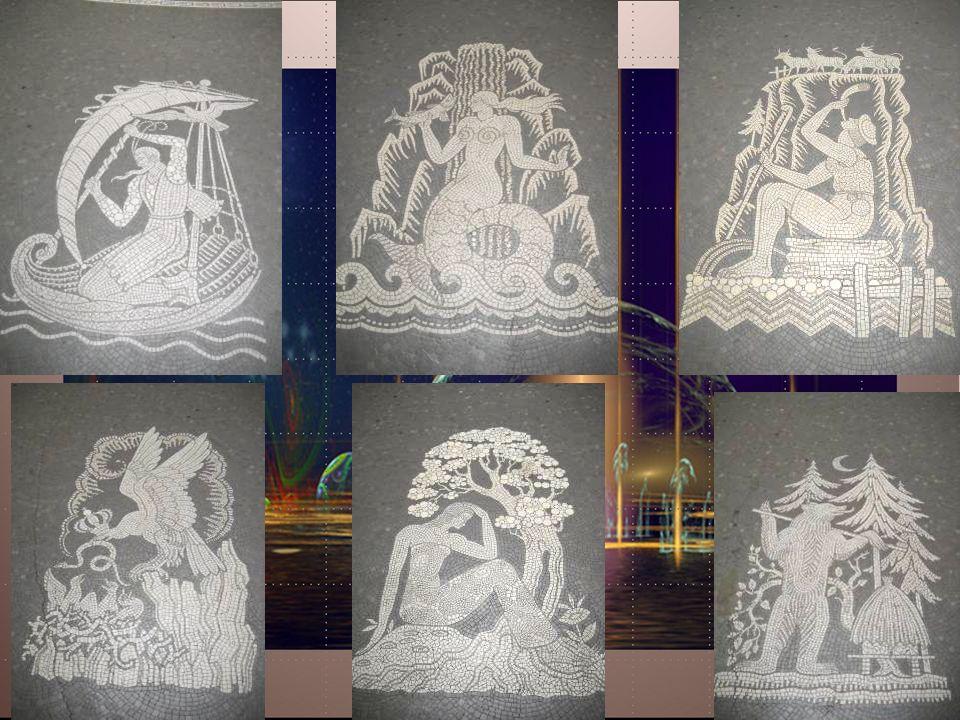 Mosaïques en blanc et gris qui entourent le puits central Scènes imaginaires, mythologiques, sur le thème de leau avec la flore et la faune des alpage