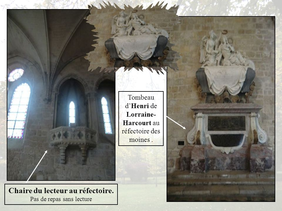 Le grand orgue construit en 1864 par Aristide Cavaillé Coll pour un riche industriel Suisse est racheté par lAbbaye en 1937 pour être placé dans le réfectoire des moines.