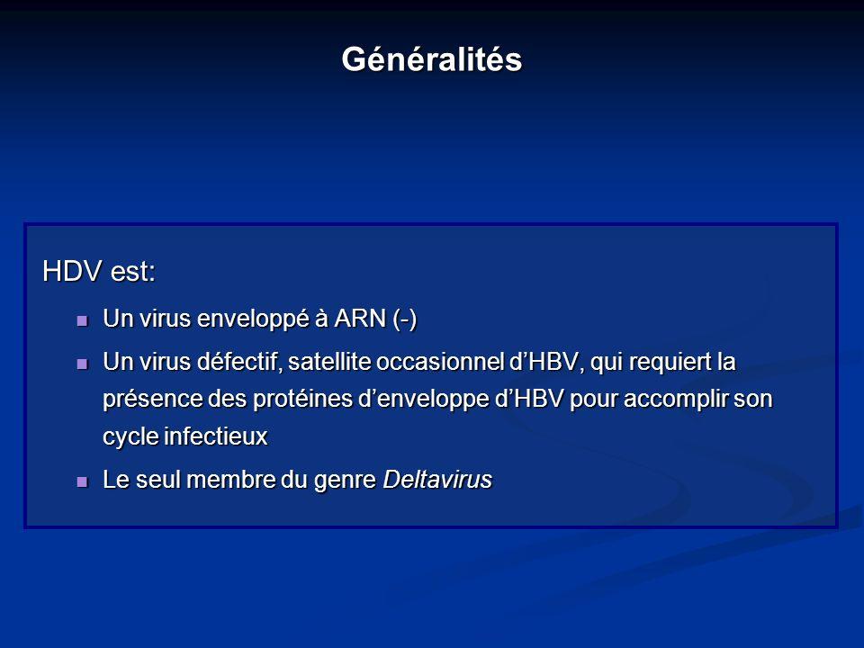 Généralités HDV est: Un virus enveloppé à ARN (-) Un virus enveloppé à ARN (-) Un virus défectif, satellite occasionnel dHBV, qui requiert la présence