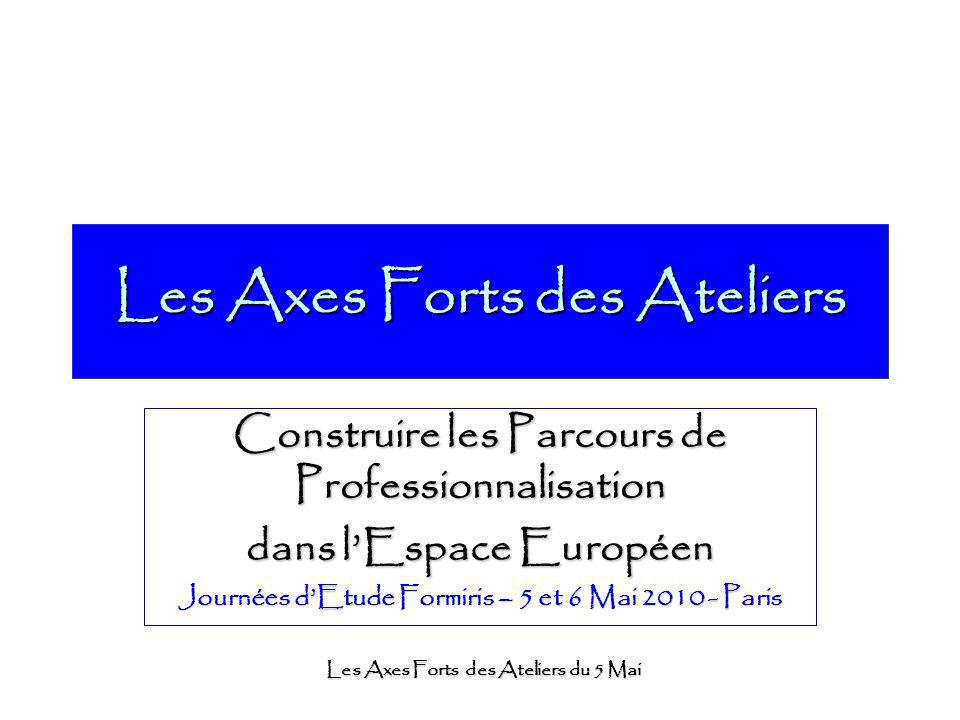 Les Axes Forts des Ateliers du 5 Mai Les Axes Forts des Ateliers Construire les Parcours de Professionnalisation dans lEspace Européen Journées dEtude Formiris – 5 et 6 Mai 2010 - Paris