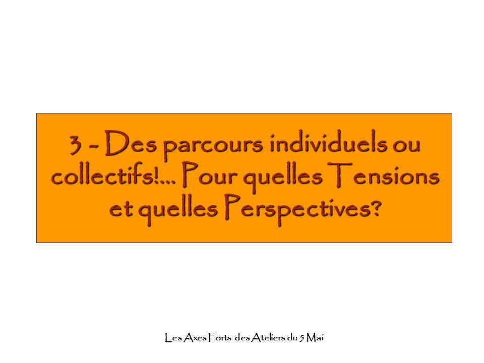 Les Axes Forts des Ateliers du 5 Mai 3 - Des parcours individuels ou collectifs!... Pour quelles Tensions et quelles Perspectives?