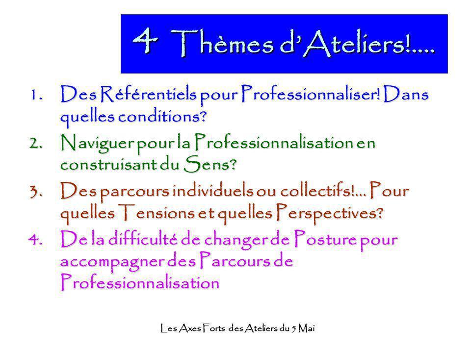 Les Axes Forts des Ateliers du 5 Mai 4 Thèmes dAteliers!.... 1.Des Référentiels pour Professionnaliser! Dans quelles conditions? 2.Naviguer pour la Pr