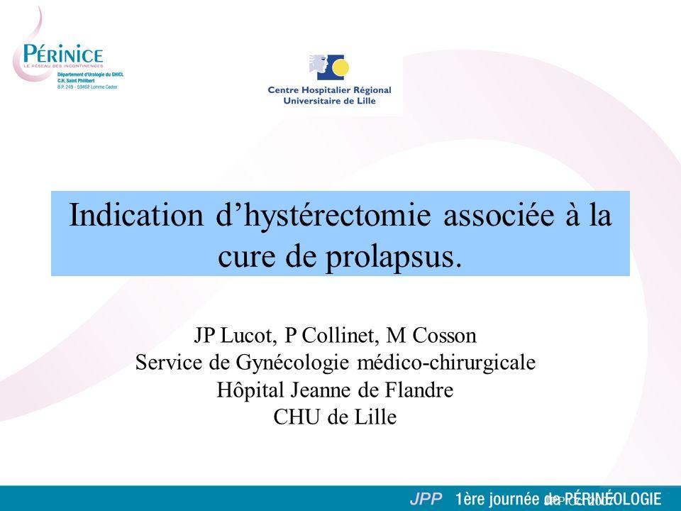 Indication dhystérectomie associée à la cure de prolapsus. JPP Oct 2007 JP Lucot, P Collinet, M Cosson Service de Gynécologie médico-chirurgicale Hôpi