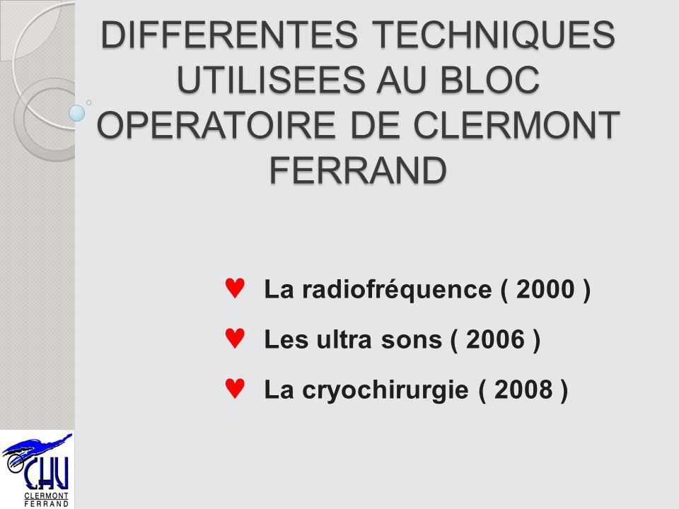 DIFFERENTES TECHNIQUES UTILISEES AU BLOC OPERATOIRE DE CLERMONT FERRAND La radiofréquence ( 2000 ) Les ultra sons ( 2006 ) La cryochirurgie ( 2008 )