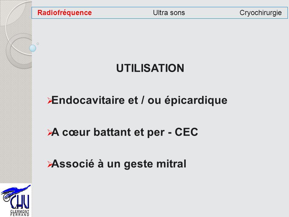 UTILISATION Endocavitaire et / ou épicardique A cœur battant et per - CEC Associé à un geste mitral RadiofréquenceUltra sonsCryochirurgie