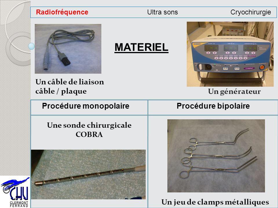 Un générateur Un câble de liaison câble / plaque MATERIEL Une sonde chirurgicale COBRA Procédure monopolaire RadiofréquenceUltra sonsCryochirurgie Pro