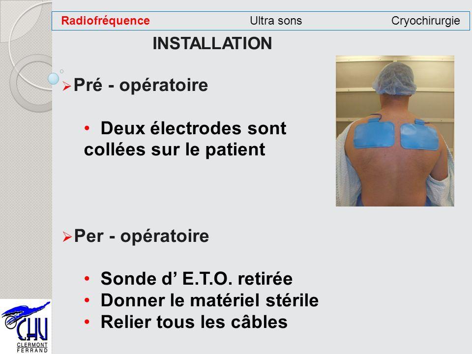 INSTALLATION Pré - opératoire Deux électrodes sont collées sur le patient Per - opératoire Sonde d E.T.O. retirée Donner le matériel stérile Relier to