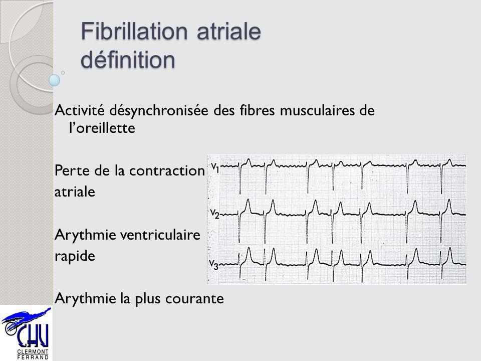 Fibrillation atriale définition Activité désynchronisée des fibres musculaires de loreillette Perte de la contraction atriale Arythmie ventriculaire r