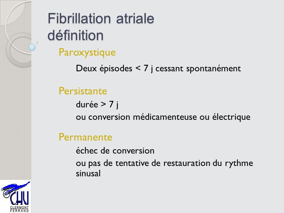 Fibrillation atriale définition Paroxystique Deux épisodes < 7 j cessant spontanément Persistante durée > 7 j ou conversion médicamenteuse ou électriq