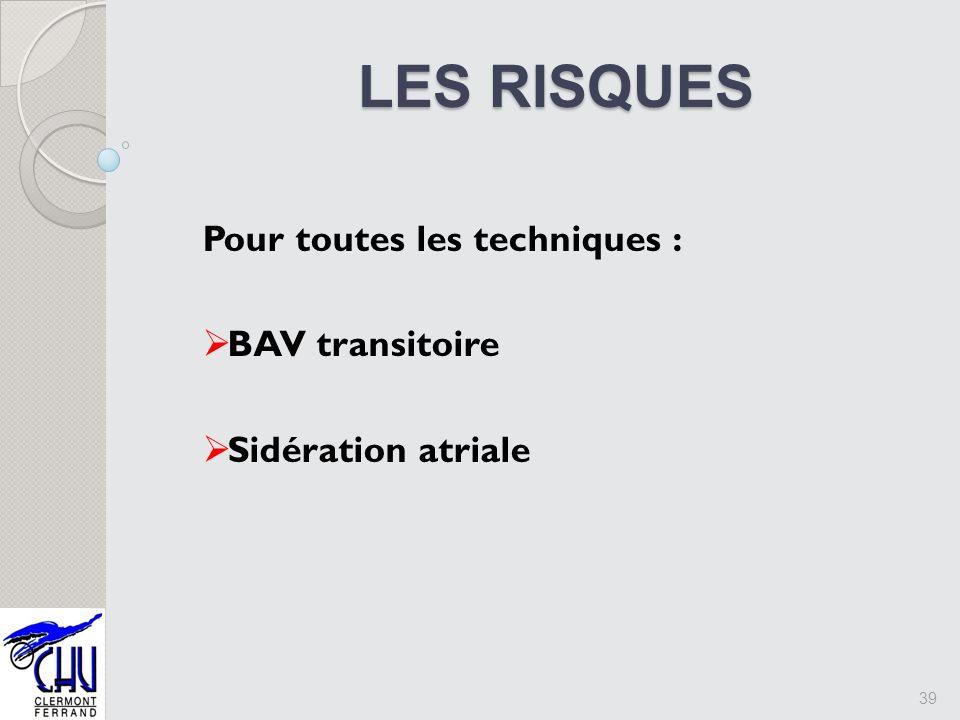 LES RISQUES LES RISQUES Pour toutes les techniques : BAV transitoire Sidération atriale 39