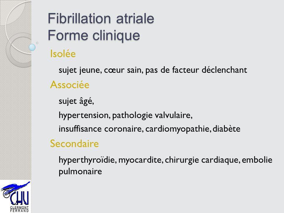 Fibrillation atriale Forme clinique Isolée sujet jeune, cœur sain, pas de facteur déclenchant Associée sujet âgé, hypertension, pathologie valvulaire,