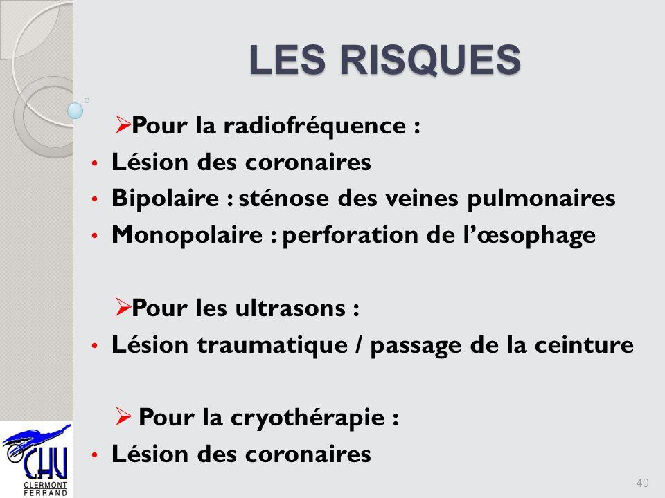 LES RISQUES LES RISQUES 40 Pour la radiofréquence : Lésion des coronaires Bipolaire : sténose des veines pulmonaires Monopolaire : perforation de lœso