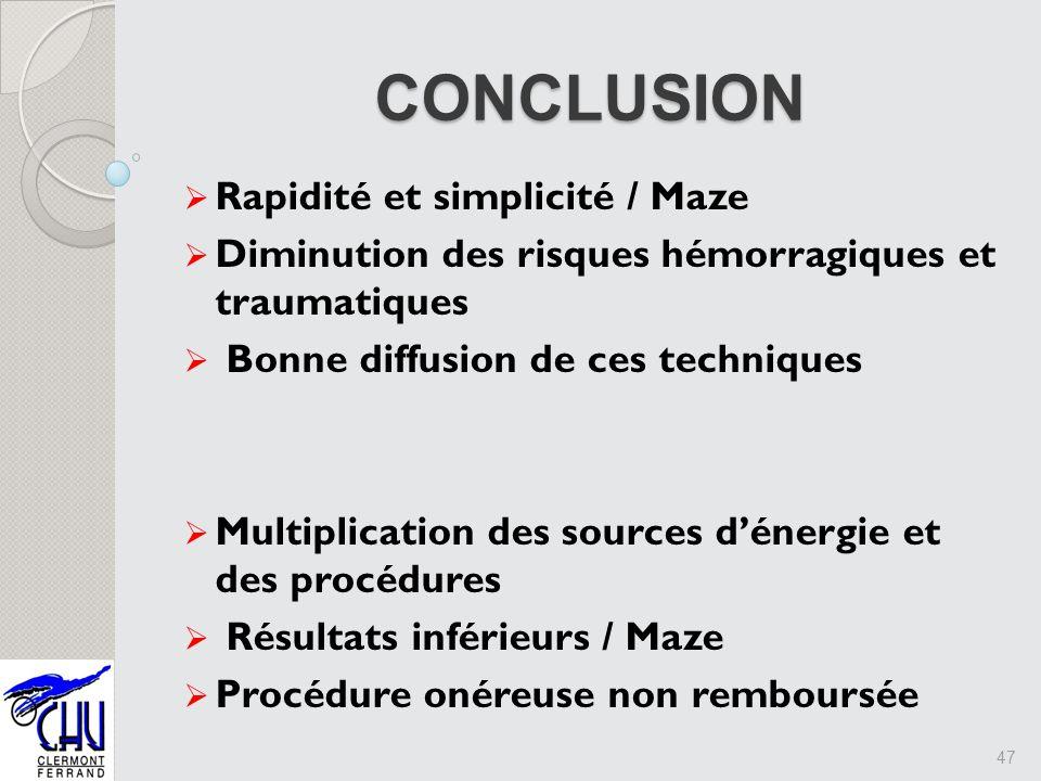 Rapidité et simplicité / Maze Diminution des risques hémorragiques et traumatiques Bonne diffusion de ces techniques Multiplication des sources dénerg