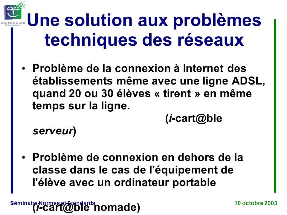Séminaire Normes et Standards 10 octobre 2003 Une solution aux problèmes techniques des réseaux Problème de la connexion à Internet des établissements même avec une ligne ADSL, quand 20 ou 30 élèves « tirent » en même temps sur la ligne.