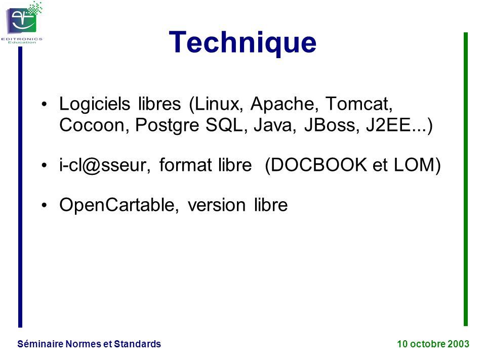 Séminaire Normes et Standards 10 octobre 2003 Technique Logiciels libres (Linux, Apache, Tomcat, Cocoon, Postgre SQL, Java, JBoss, J2EE...) i-cl@sseur, format libre (DOCBOOK et LOM) OpenCartable, version libre