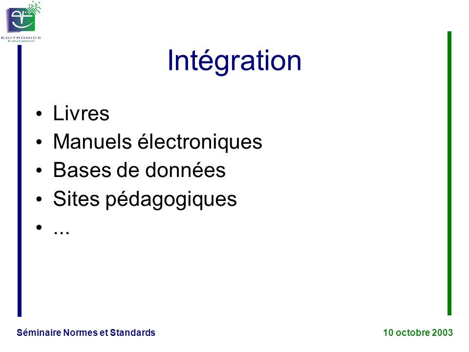 Séminaire Normes et Standards 10 octobre 2003 Intégration Livres Manuels électroniques Bases de données Sites pédagogiques...