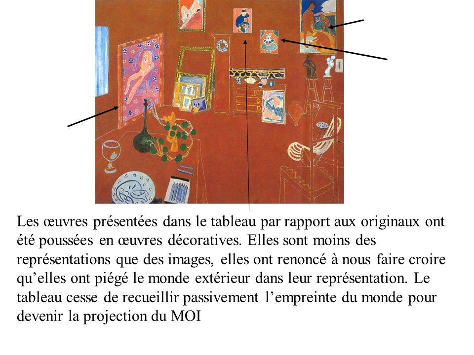 La contradiction entre l information que donne la couleur et l information du dessin nous conduit à voir le tableau soit en 2 D soit en 3 D.