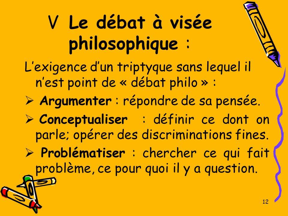 V Le débat à visée philosophique : Lexigence dun triptyque sans lequel il nest point de « débat philo » : Argumenter : répondre de sa pensée. Conceptu