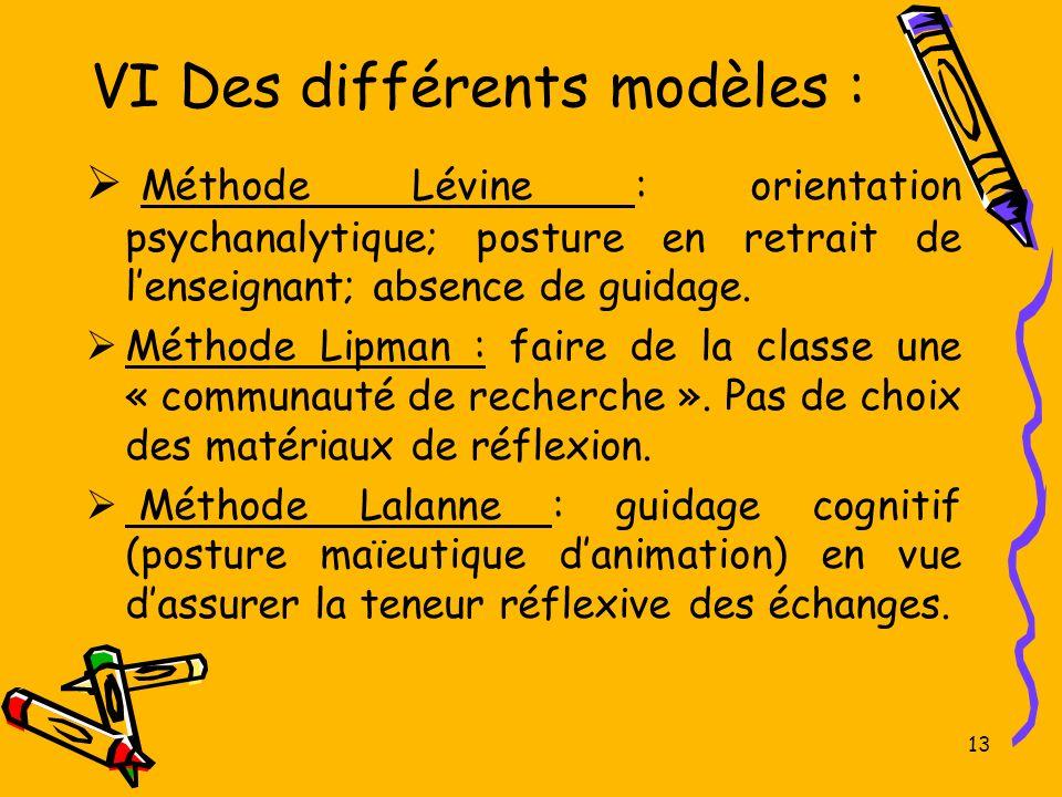 VI Des différents modèles : Méthode Lévine : orientation psychanalytique; posture en retrait de lenseignant; absence de guidage. Méthode Lipman : fair