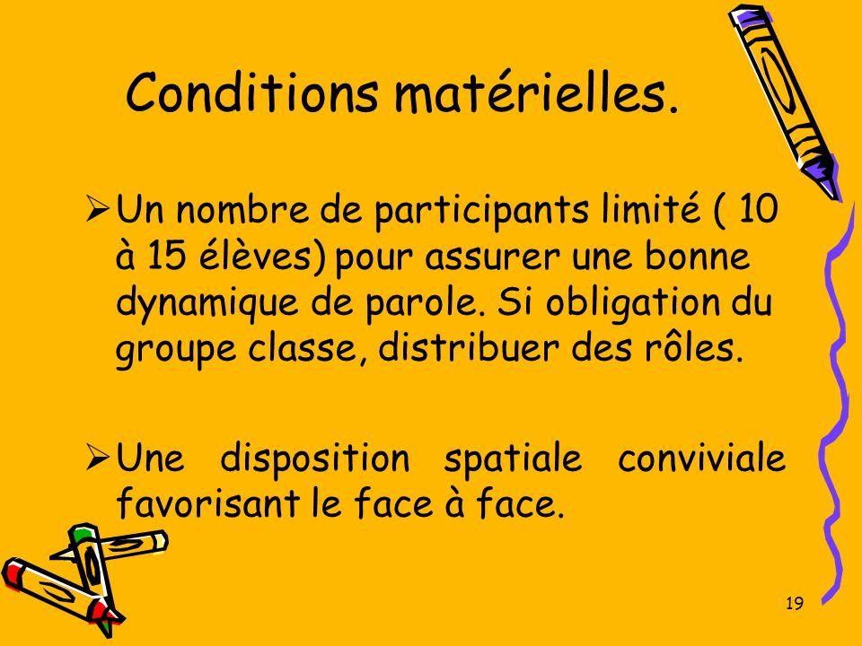 19 Conditions matérielles. Un nombre de participants limité ( 10 à 15 élèves) pour assurer une bonne dynamique de parole. Si obligation du groupe clas