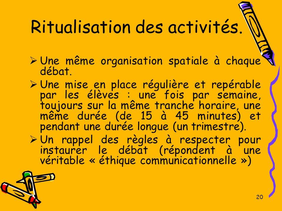 20 Ritualisation des activités. Une même organisation spatiale à chaque débat. Une mise en place régulière et repérable par les élèves : une fois par